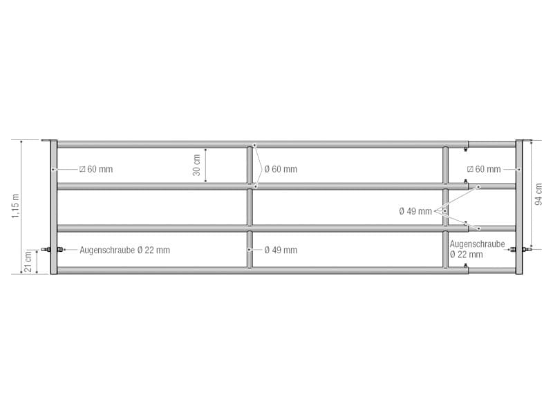 Abtrenngitter - Abtrennung EX 4 – 4 Stangen, ausziehbar