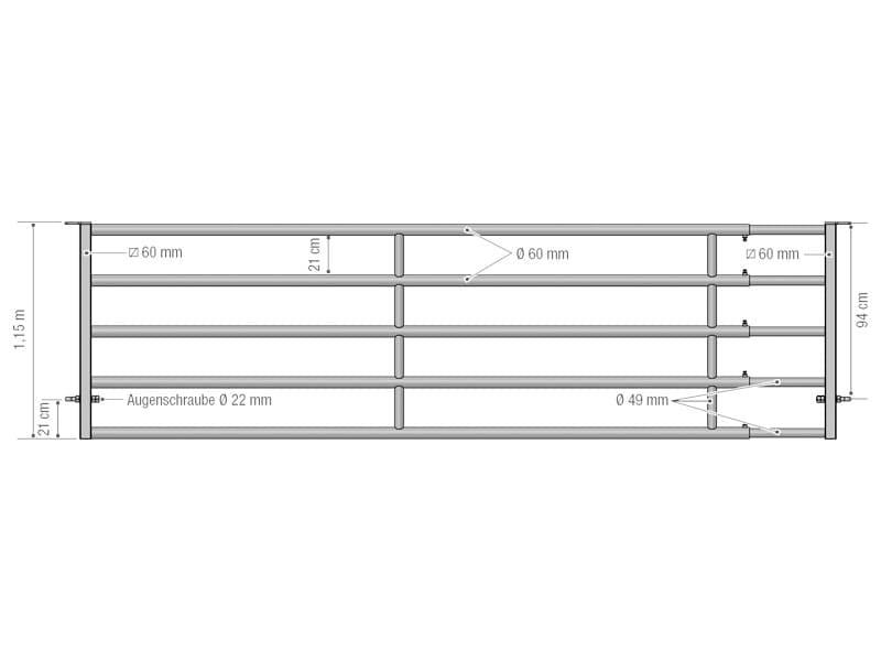 Abtrenngitter - Abtrennung EX 5 – 5 Stangen, ausziehbar