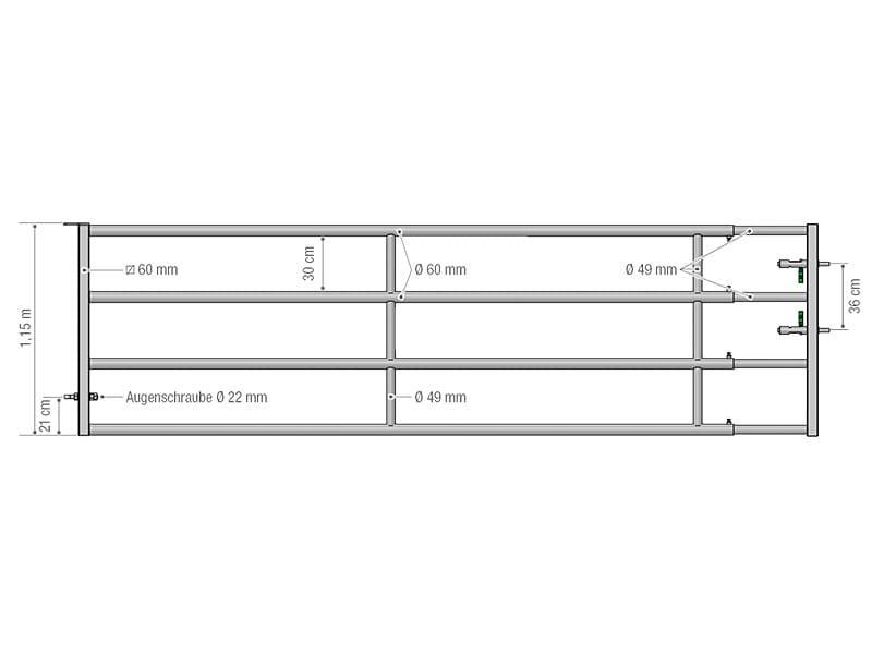 Abtrenngitter - Tor Autolock EX 4 – 4 Stangen, ausziehbar